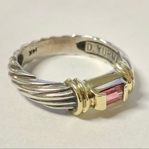 David Yurman Pink Tourmaline Cable Ring 7